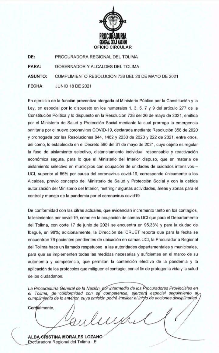 Procuraduría le pone el ojo al Tolima, por no implementar medidas de choque por aumento del covid-19 4