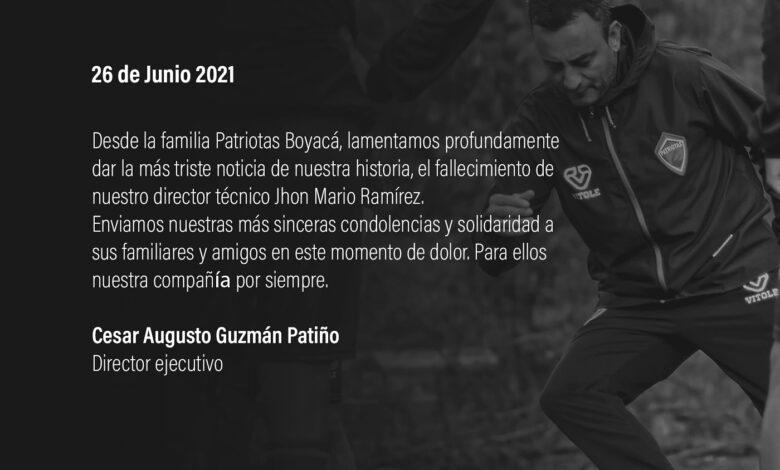 Falleció Jhon Mario Ramírez, exfutbolista y director técnico de Patriotas 1