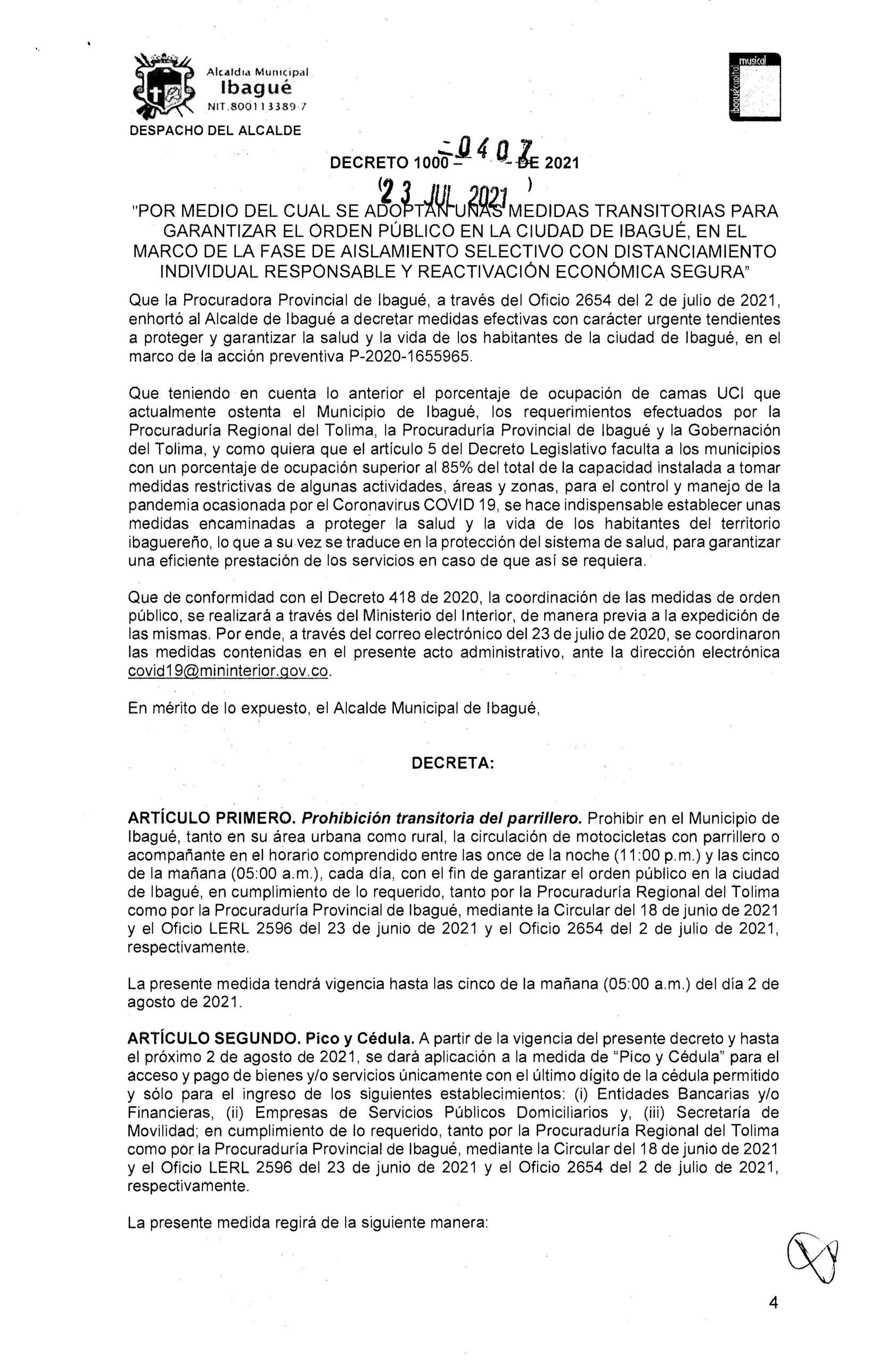 Medidas restrictivas se amplían hasta el 2 de agosto en Ibagué 2