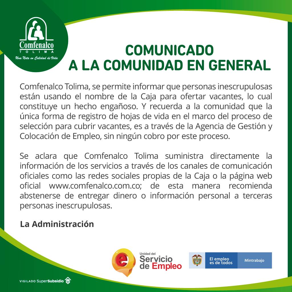 Estafadores están ofreciendo falsos trabajos en Comfenalco Tolima 4