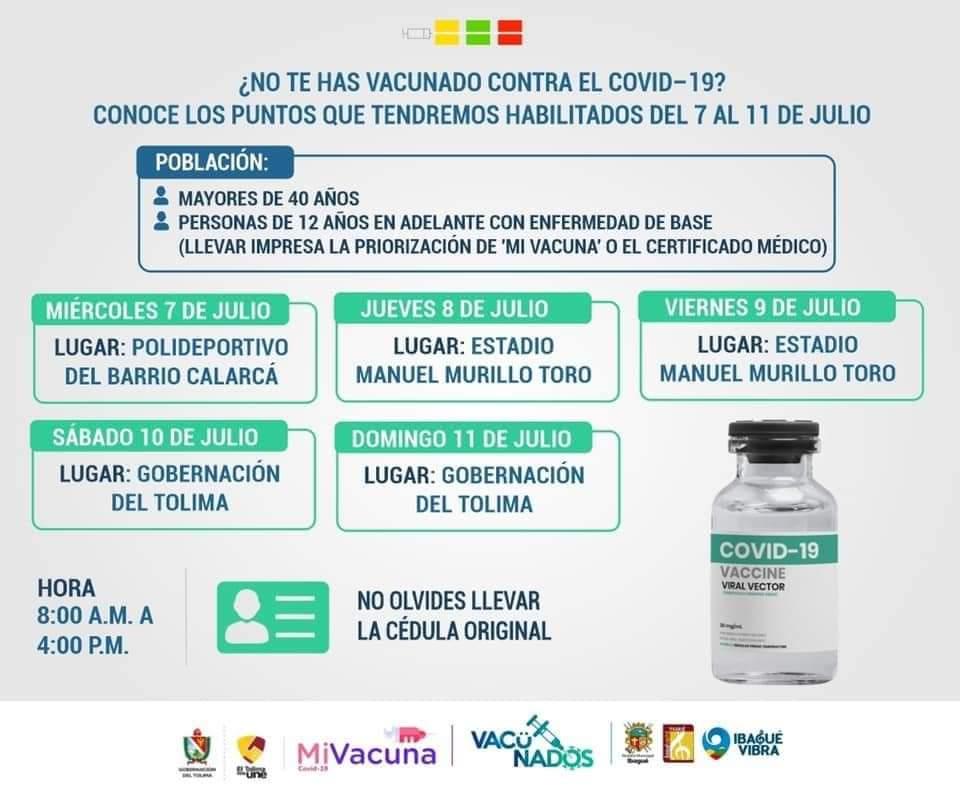 Anuncian vacunación libre para mayores de 40 años a partir de este miércoles 4