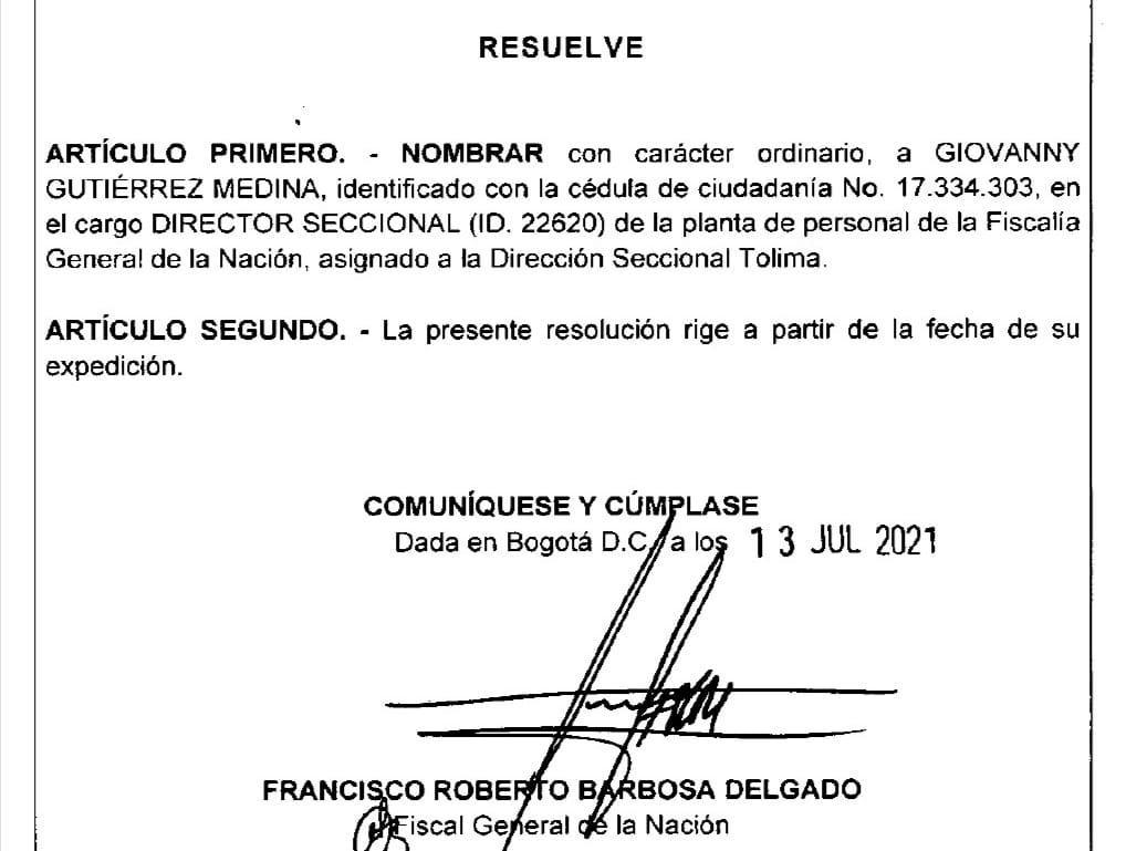 Por segunda vez nombran a Giovanny Gutiérrez director de Fiscalías en el Tolima 4