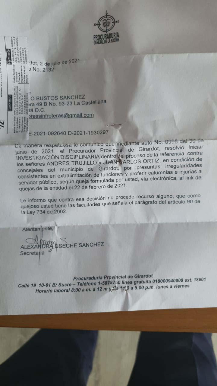 Concejales de Girardot serán investigados por interferir en adjudicación del PAE 4