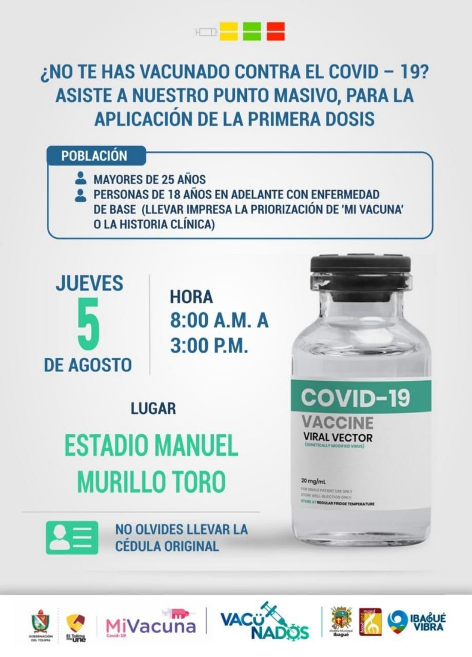 Este jueves vacunación para mayores de 25 años es en el estadio Murillo Toro 3