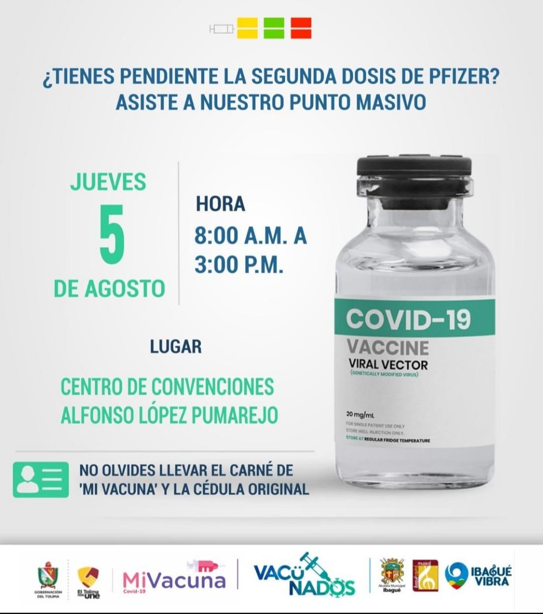 Este jueves vacunación para mayores de 25 años es en el estadio Murillo Toro 2