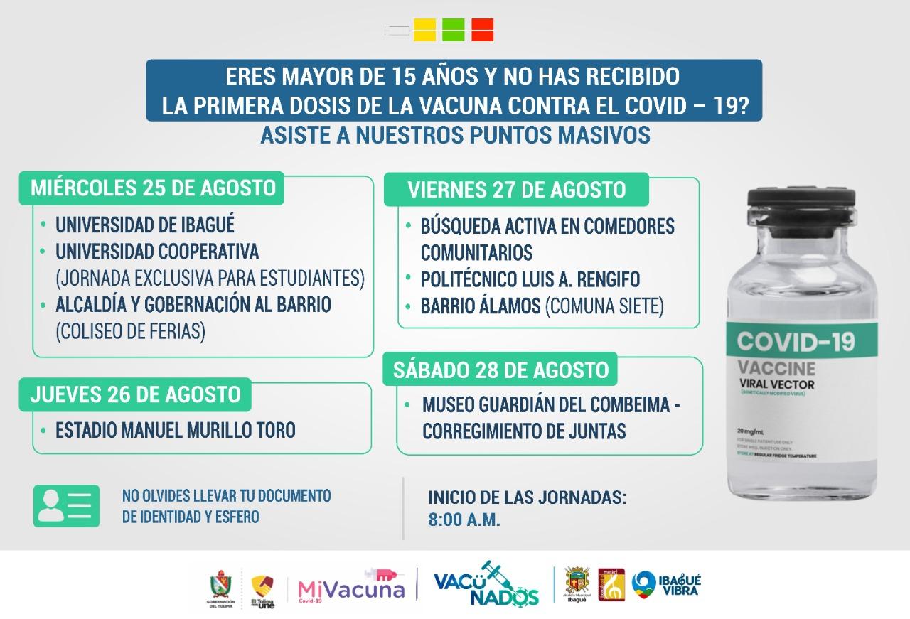 Cuatro días de Jornadas masivas de vacunación para mayores de 15 años en Ibagué 4