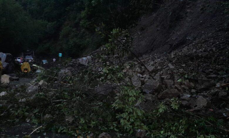 Cierre total de la vía Ibagué-Cajamarca deja derrumbe de piedra y árboles 3