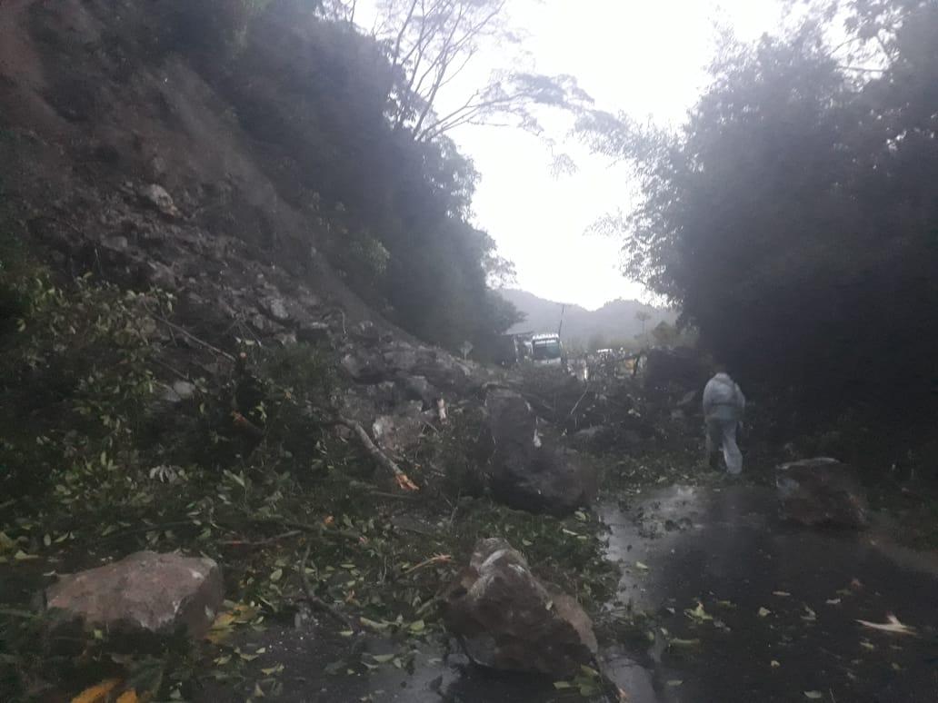Cierre total de la vía Ibagué-Cajamarca deja derrumbe de piedra y árboles 5