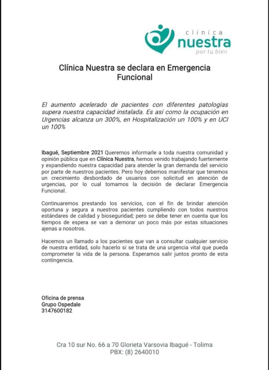Emergencia funcional en la Clínica Nuestra