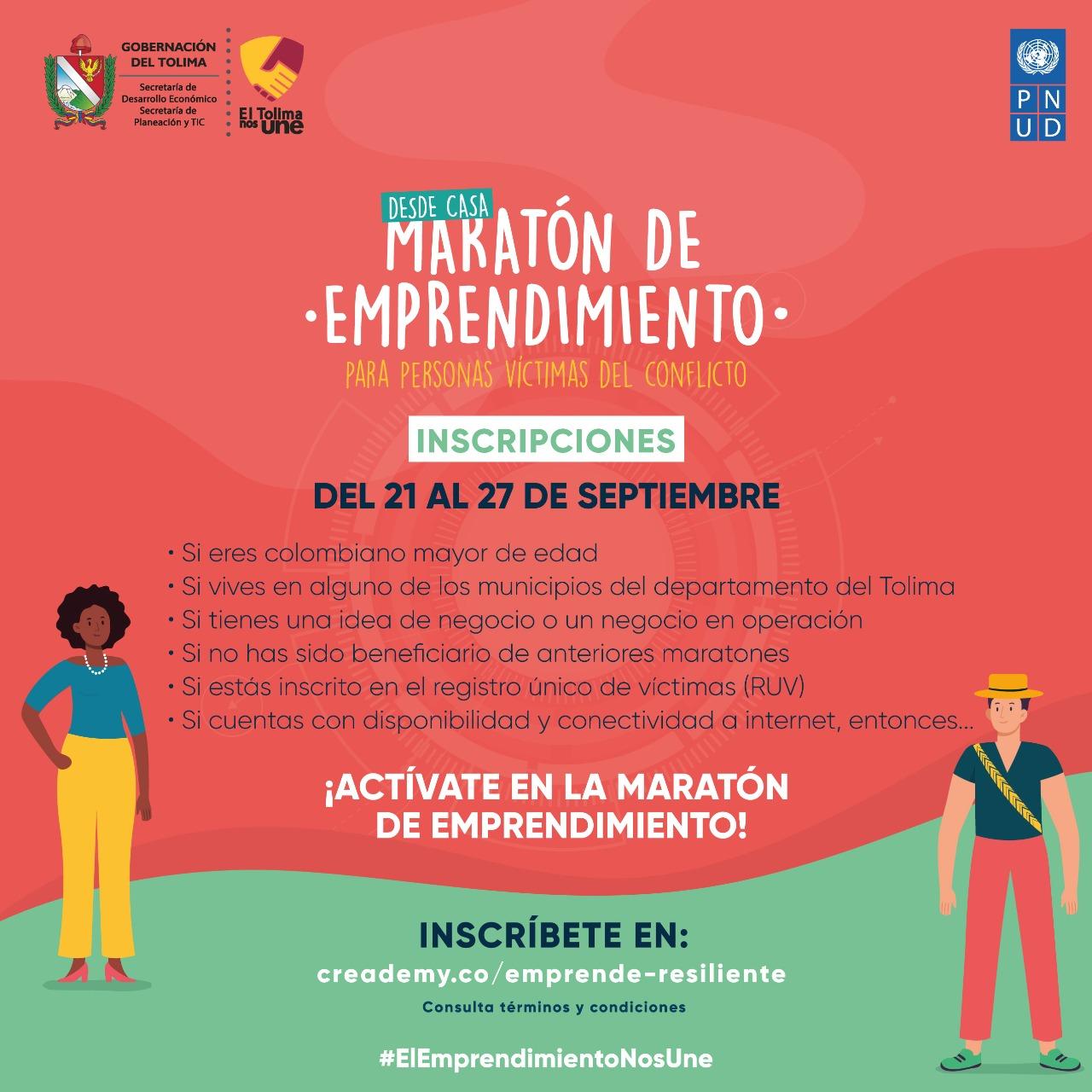 Hasta el 27 de septiembre, víctimas del conflicto podrán inscribirse en la Maratón de Emprendimiento 2