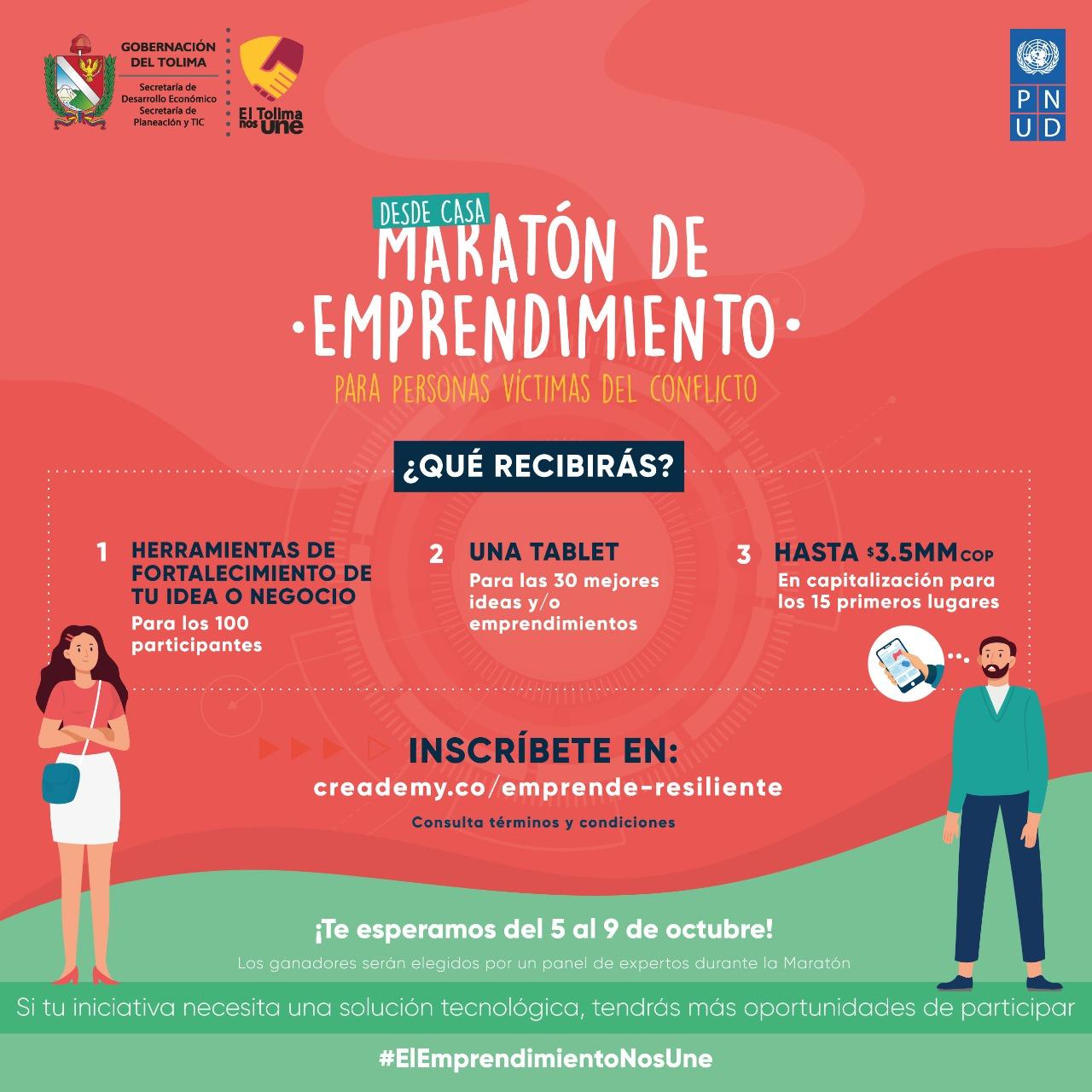 Hasta el 27 de septiembre, víctimas del conflicto podrán inscribirse en la Maratón de Emprendimiento 5