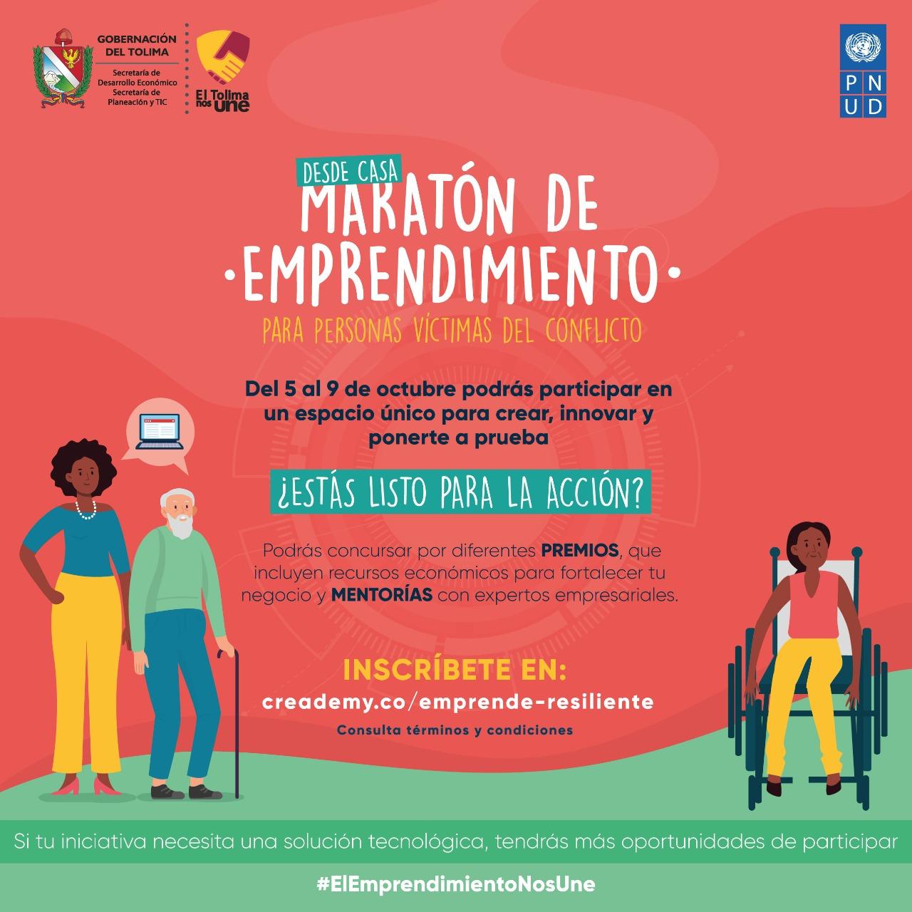 Hasta el 27 de septiembre, víctimas del conflicto podrán inscribirse en la Maratón de Emprendimiento 6