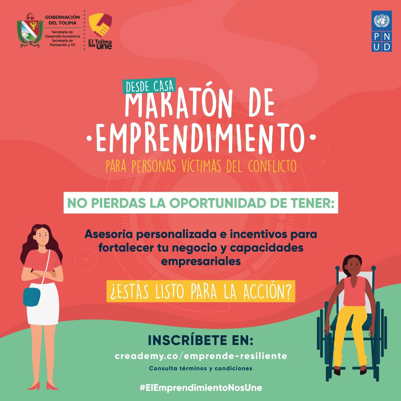 Hasta el 27 de septiembre, víctimas del conflicto podrán inscribirse en la Maratón de Emprendimiento 3